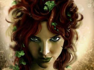 Fond d'écran mobile avec une jeune et jolie fille sorcière.